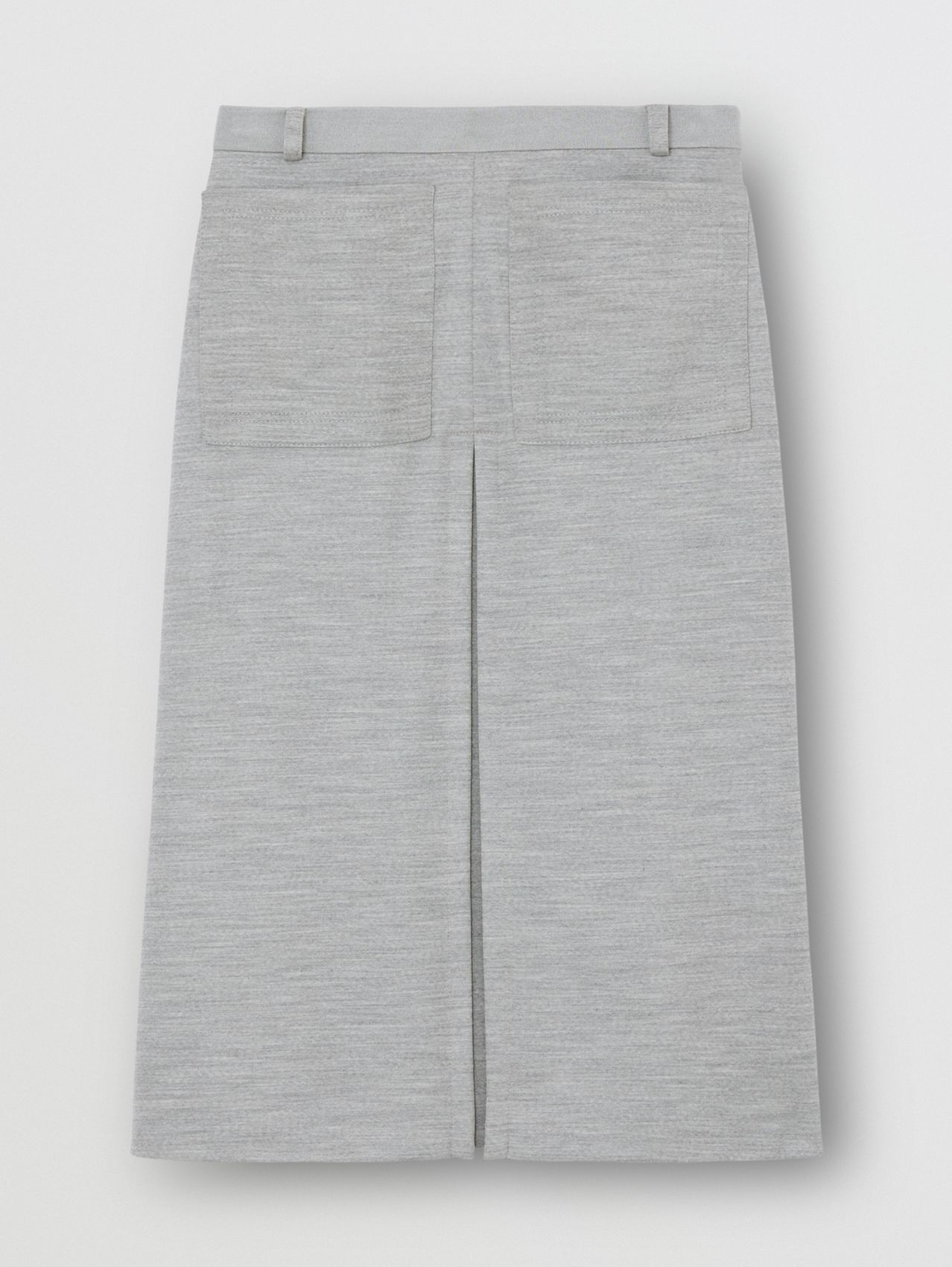 Box-pleat Detail Technical Wool Jersey A-line Skirt in Cloud Grey