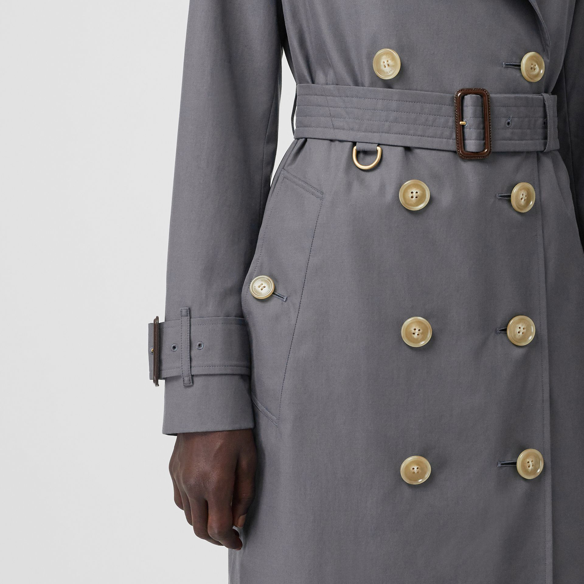 Tropical Gabardine Trench Coat in Mid Grey - Women | Burberry - gallery image 4