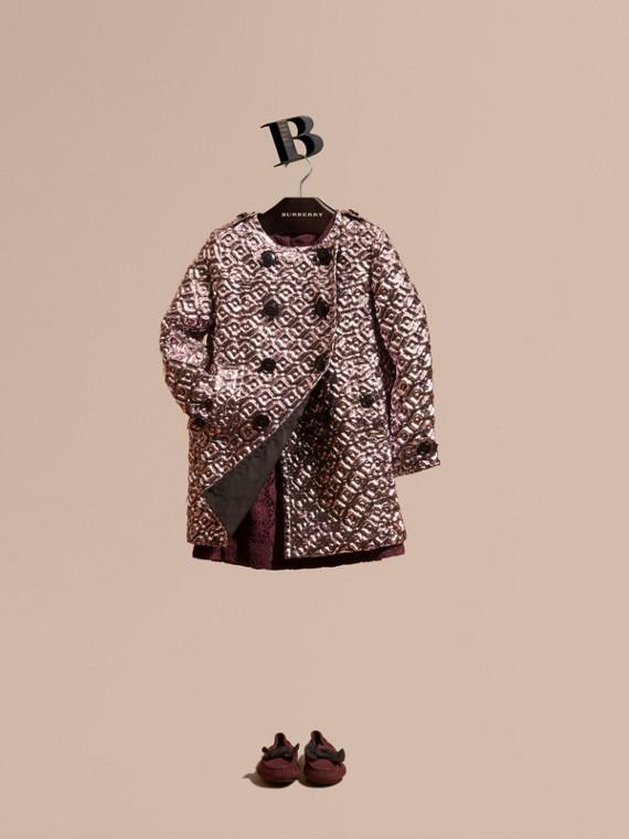 Manteau matelassé et capitonné de style cocoon Rose Cendré Pâle