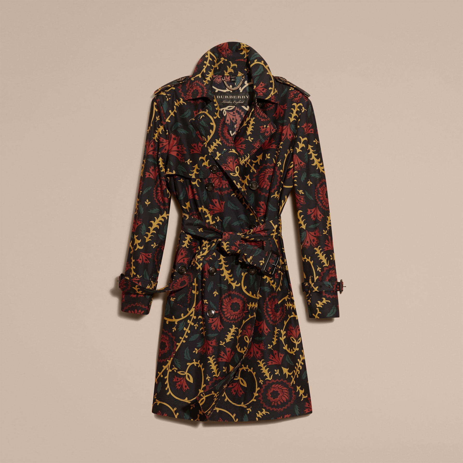 Navy Floral Print Silk Wool Trench Coat - gallery image 4