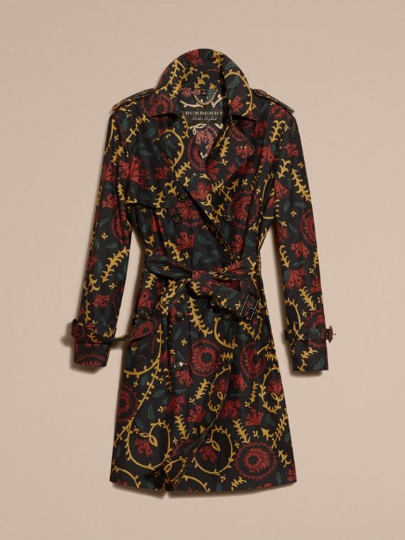Navy Floral Print Silk Wool Trench Coat - cell image 3