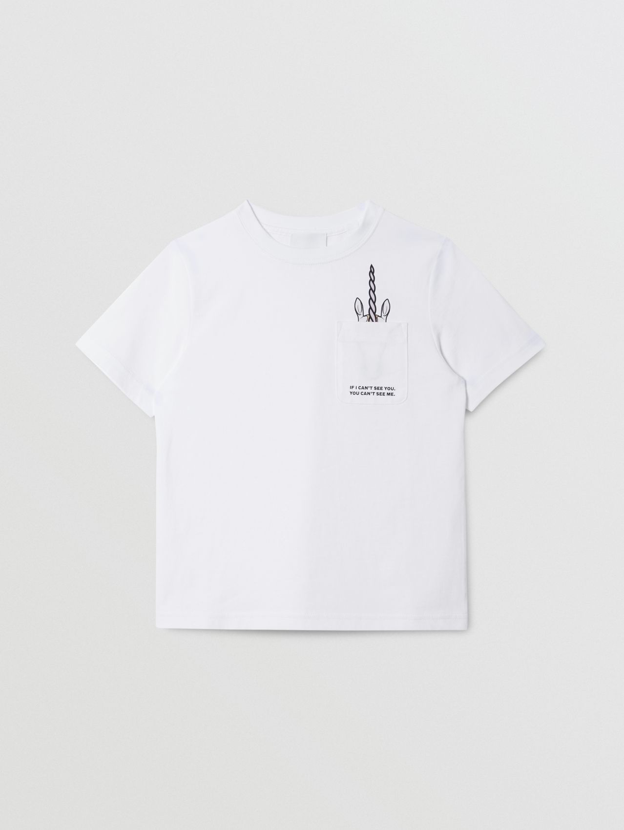 Unicorn Slogan Print Cotton T-shirt in White