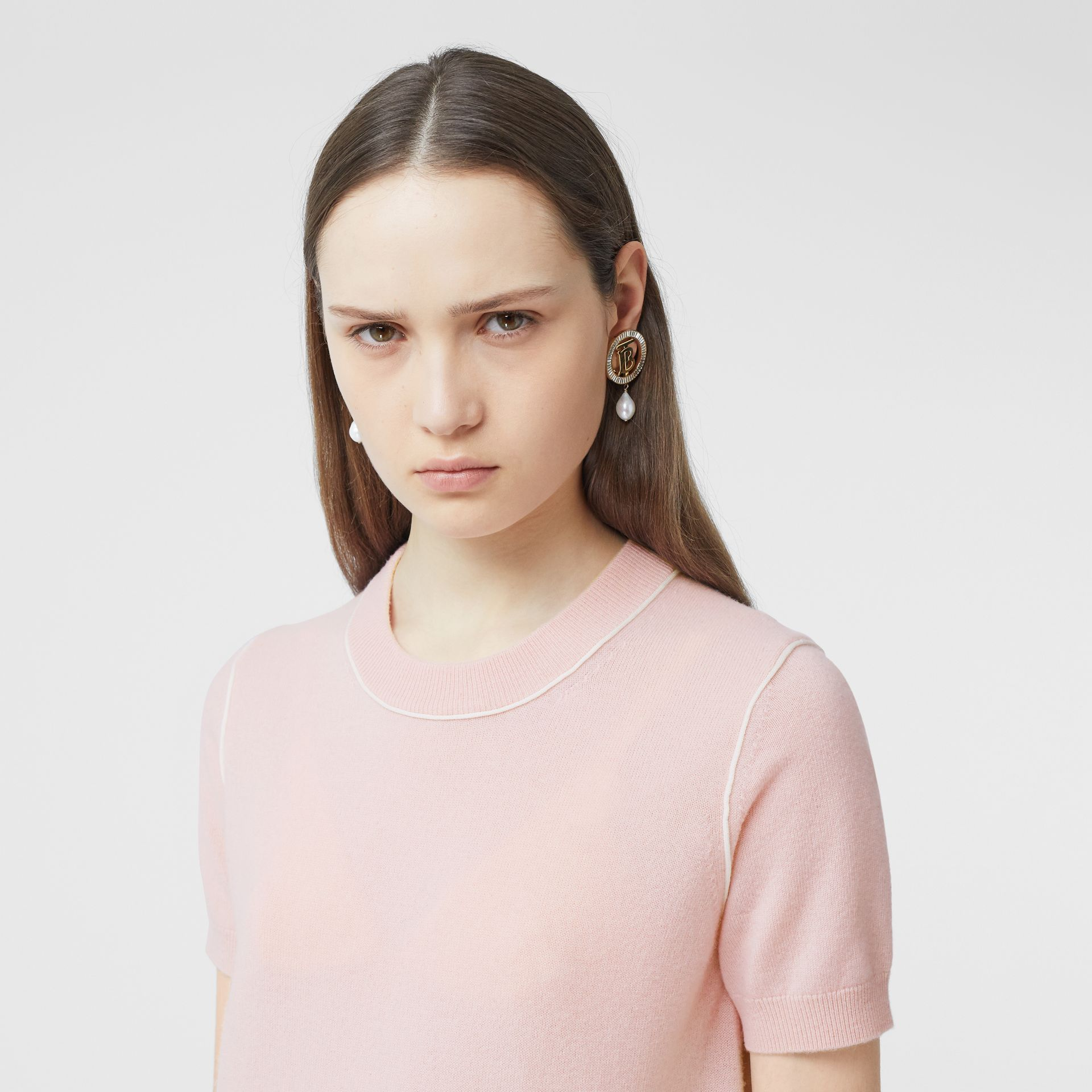Short-sleeve Monogram Motif Cashmere Top in Copper Pink - Women | Burberry United Kingdom - gallery image 4