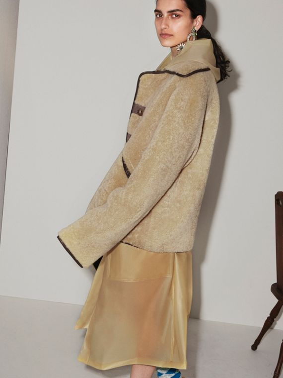 Shearling and Lambskin Jacket in Chocolate/light Citrus - Women | Burberry United Kingdom - cell image 2