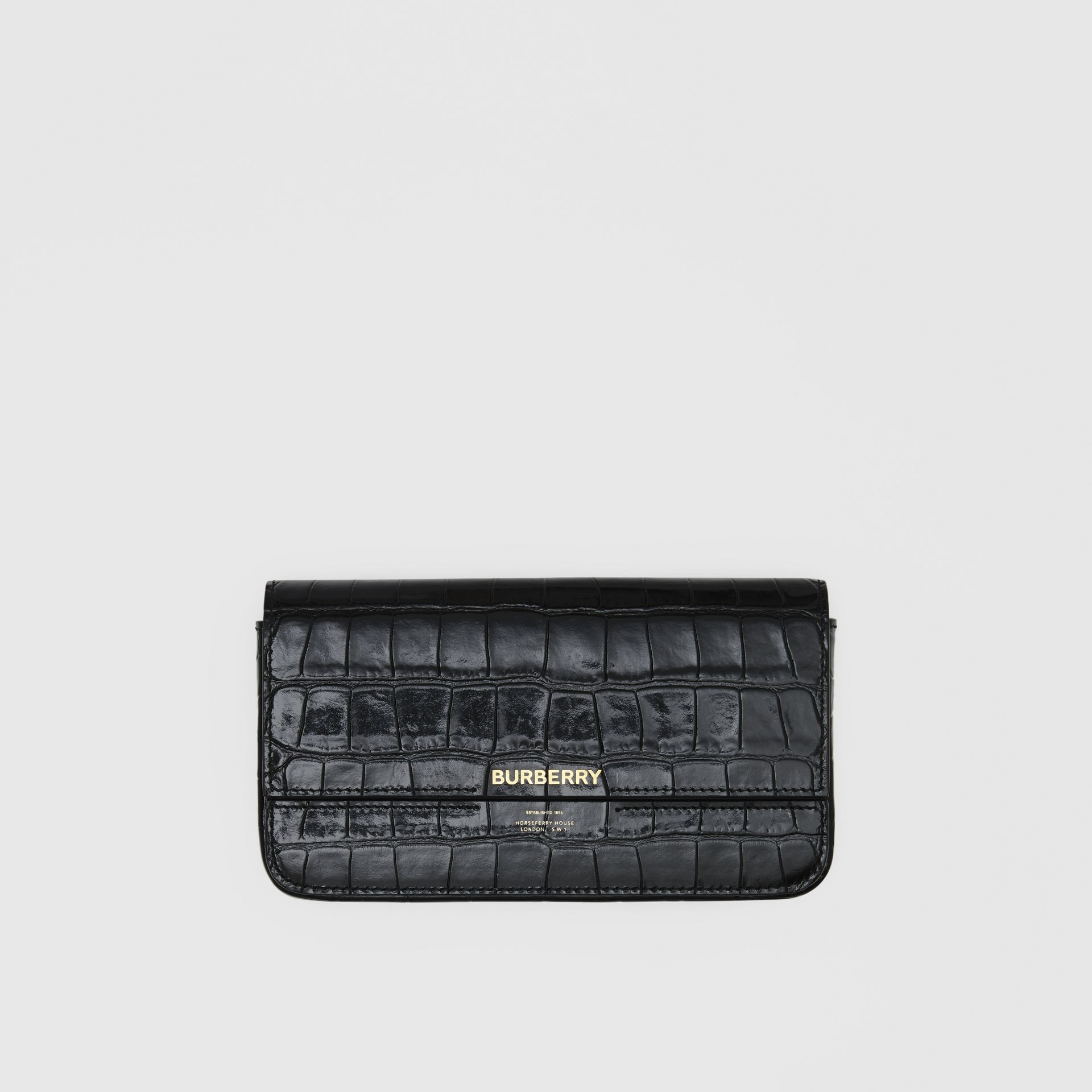 Embossed Leather Wallet with Detachable Chain Strap in Black - Women | Burberry United States - gallery image 9