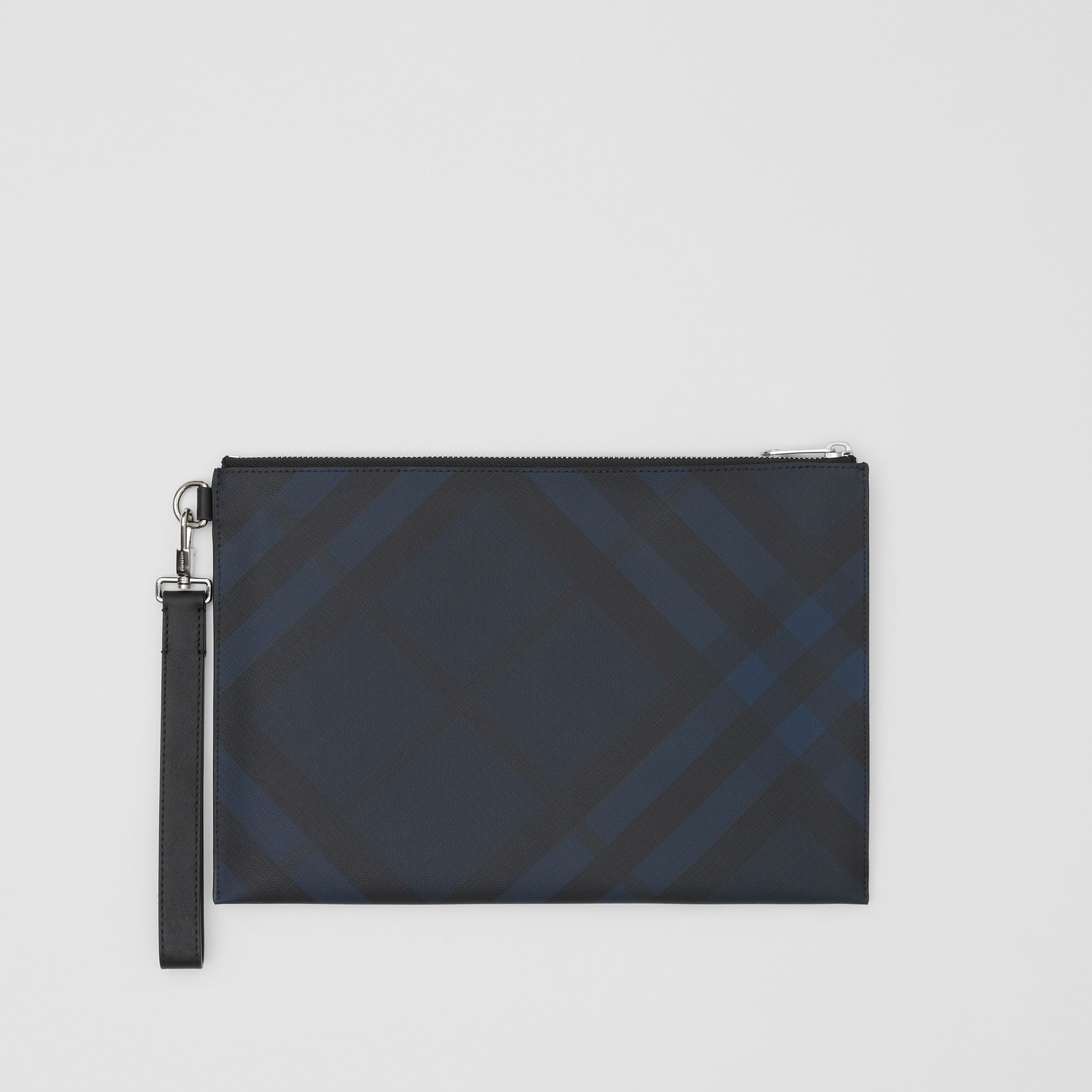 London Check and Leather Zip Pouch in Navy - Men | Burberry - 1