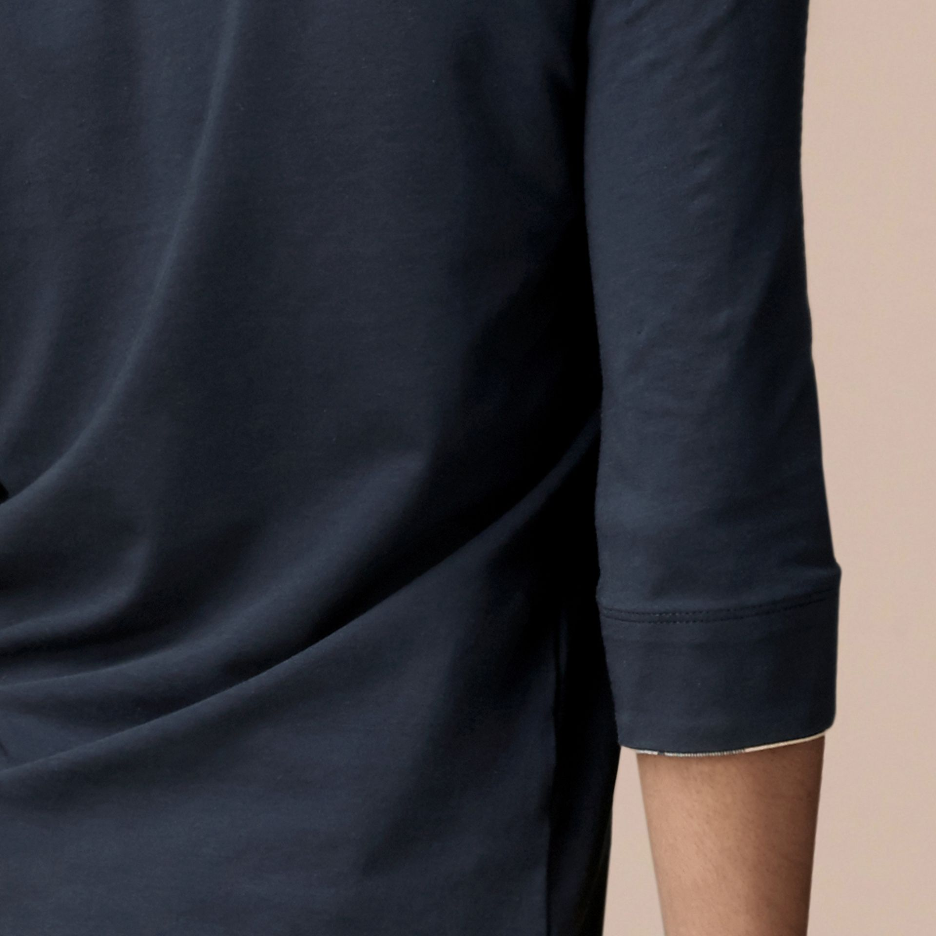 Check Cuff Stretch-Cotton Top Navy - gallery image 2