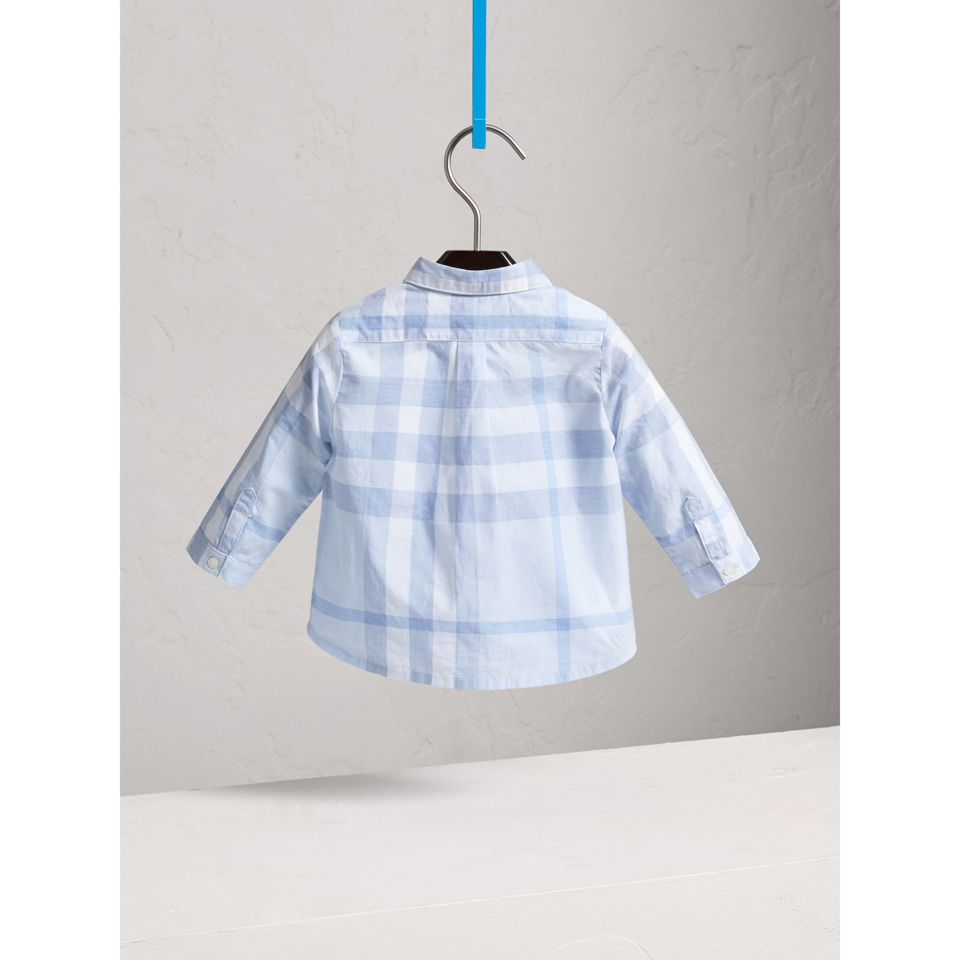 Washed Check Cotton Shirt in Ice Blue - Children | Burberry - gallery image 3