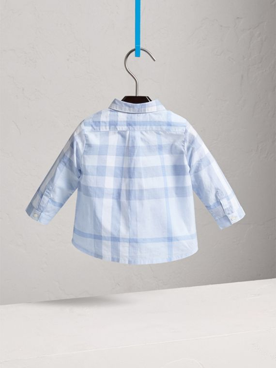 Washed Check Cotton Shirt in Ice Blue - Children | Burberry - cell image 3