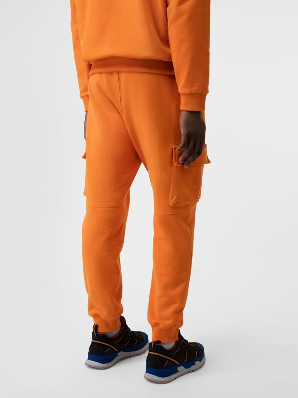 Logo Print Cotton Trackpants in Bright Orange - Men | Burberry - cell image 2