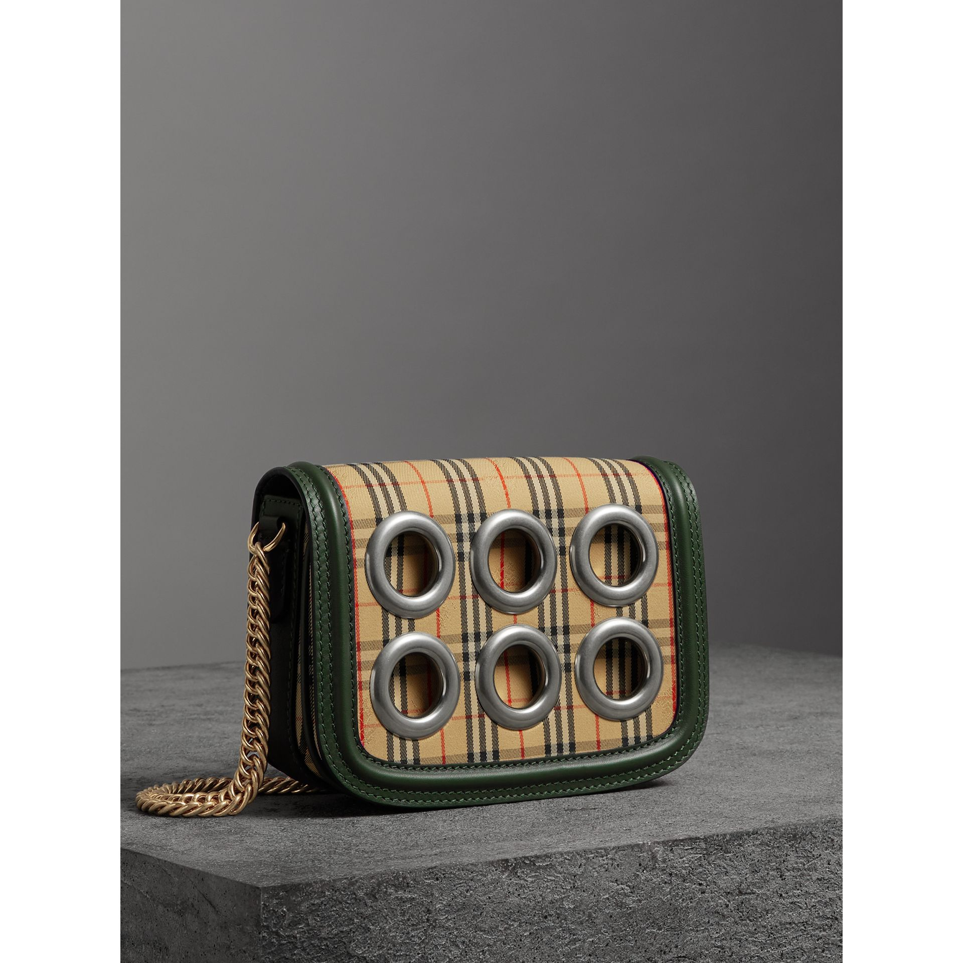The 1983 Check Link Bag with Grommet Detail in Dark Forest Green - Women | Burberry - gallery image 7