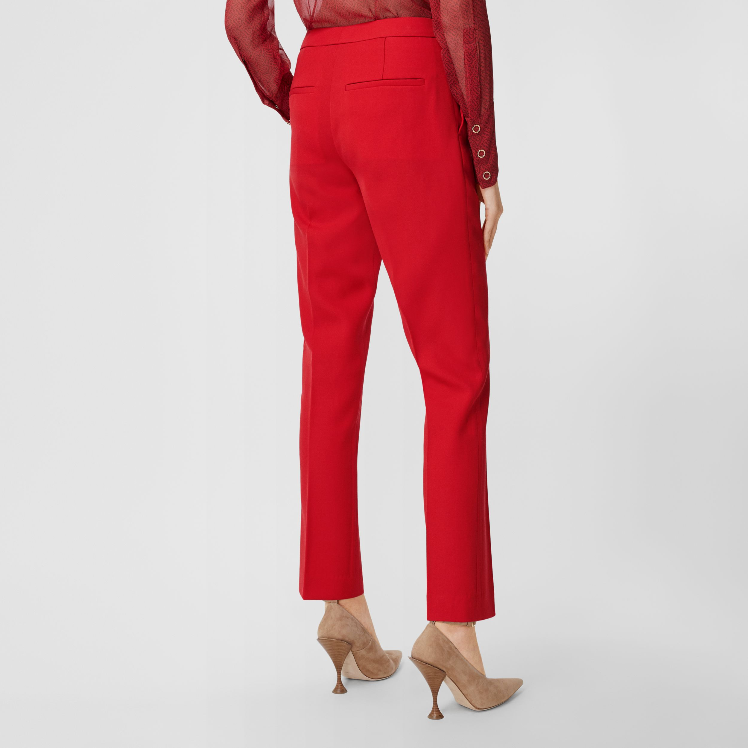 Wool Tailored Trousers in Bright Red - Women | Burberry Australia - 3