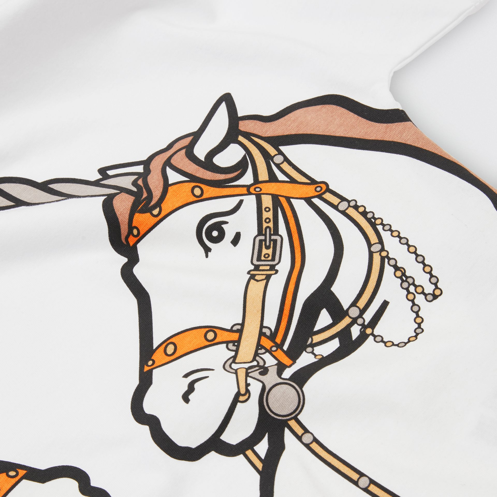 Unicorn Print Cotton T-shirt in White | Burberry - gallery image 1