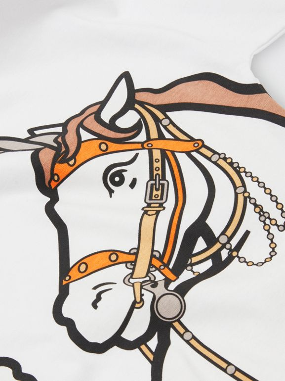 Unicorn Print Cotton T-shirt in White | Burberry Australia - cell image 1