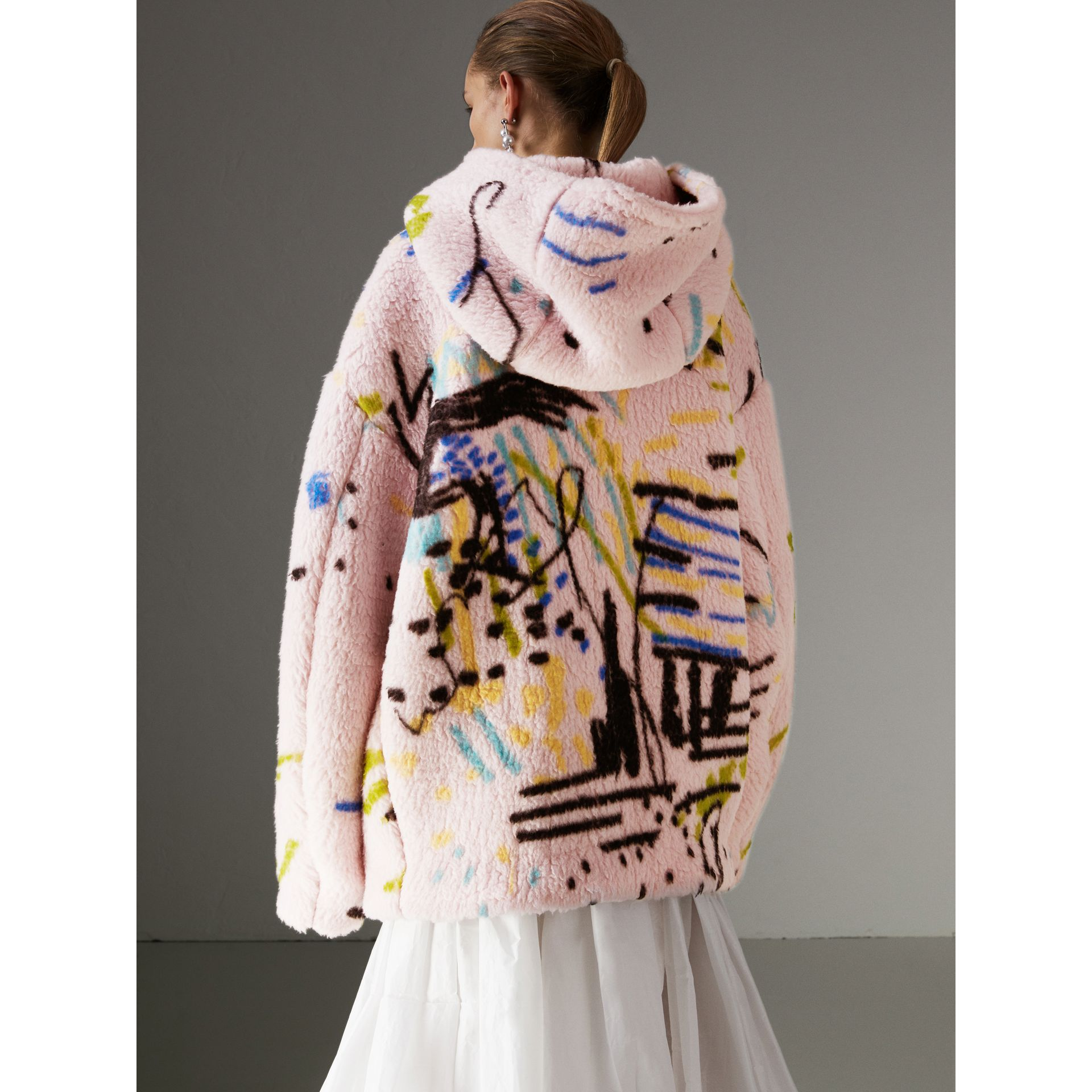 Graffiti Print Cashmere Silk Fleece Hoodie in Pale Rose - Women | Burberry Australia - gallery image 2