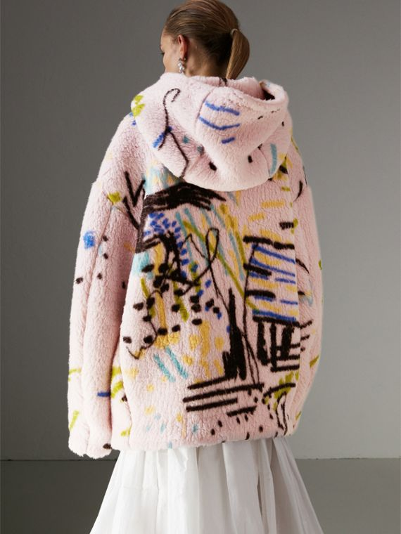 Graffiti Print Cashmere Silk Fleece Hoodie in Pale Rose - Women | Burberry - cell image 2