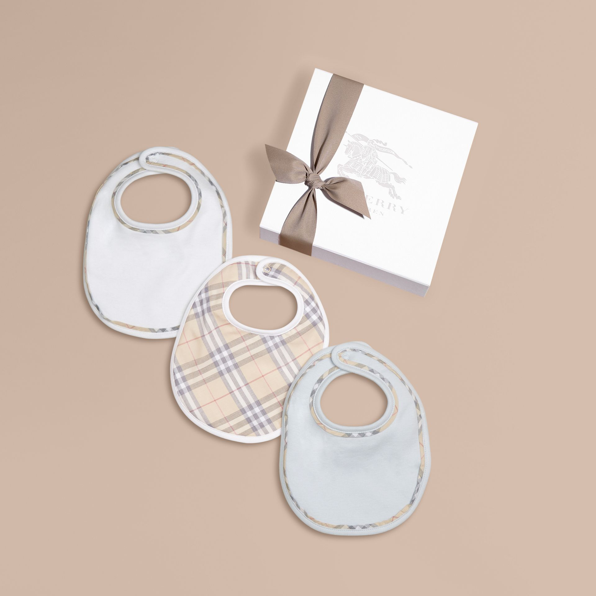 Check Cotton Three-Piece Baby Bib Gift Set Ice Blue - gallery image 1