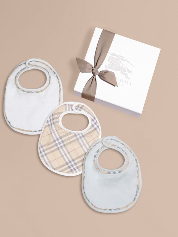 Check Cotton Three-Piece Baby Bib Gift Set in Ice Blue