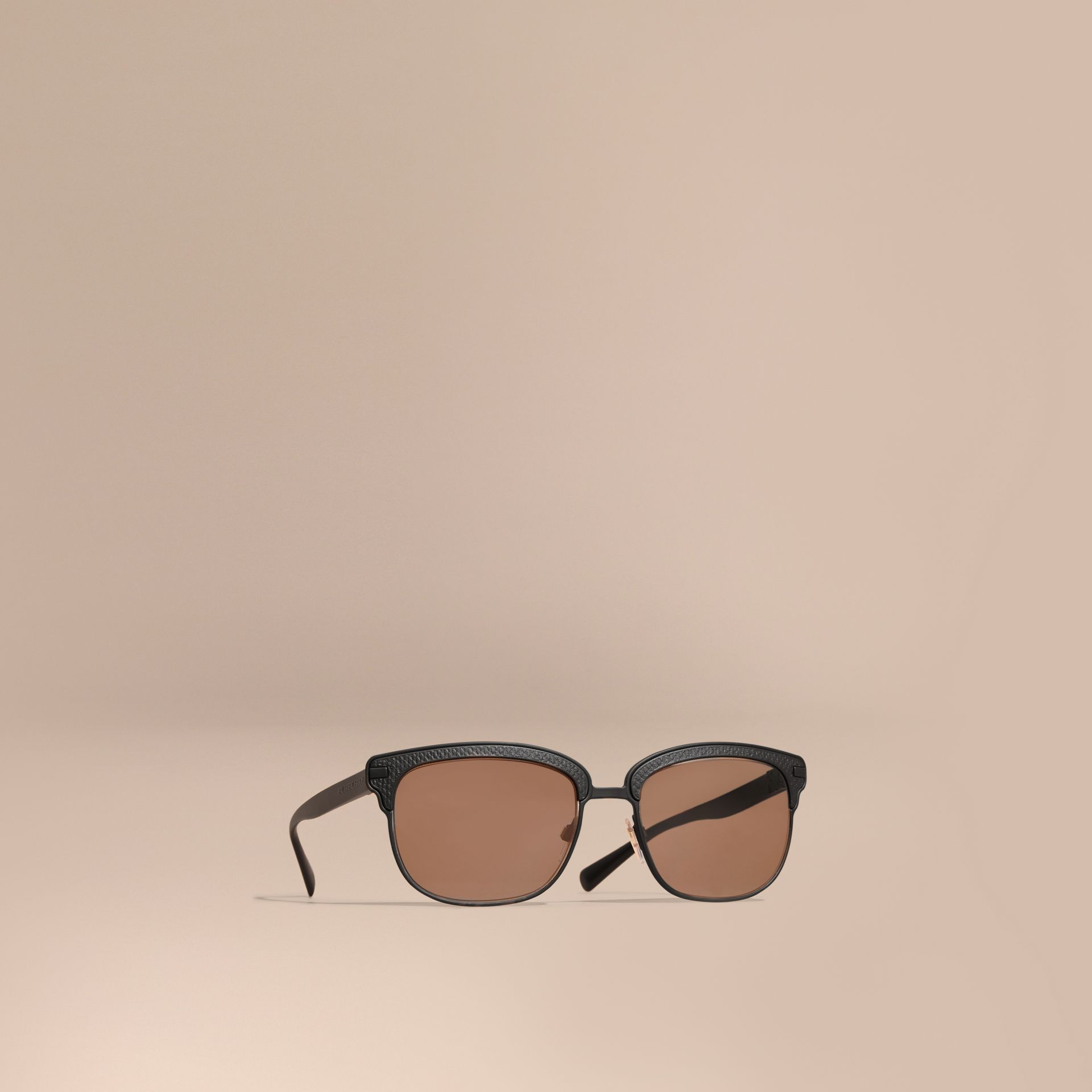 Textured Front Square Frame Sunglasses in Black - Men | Burberry Hong Kong - gallery image 1