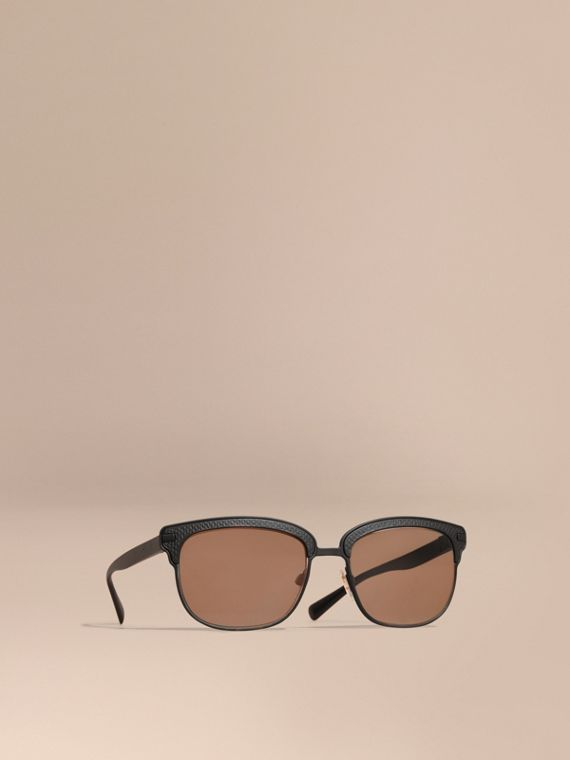 Textured Front Square Frame Sunglasses Black