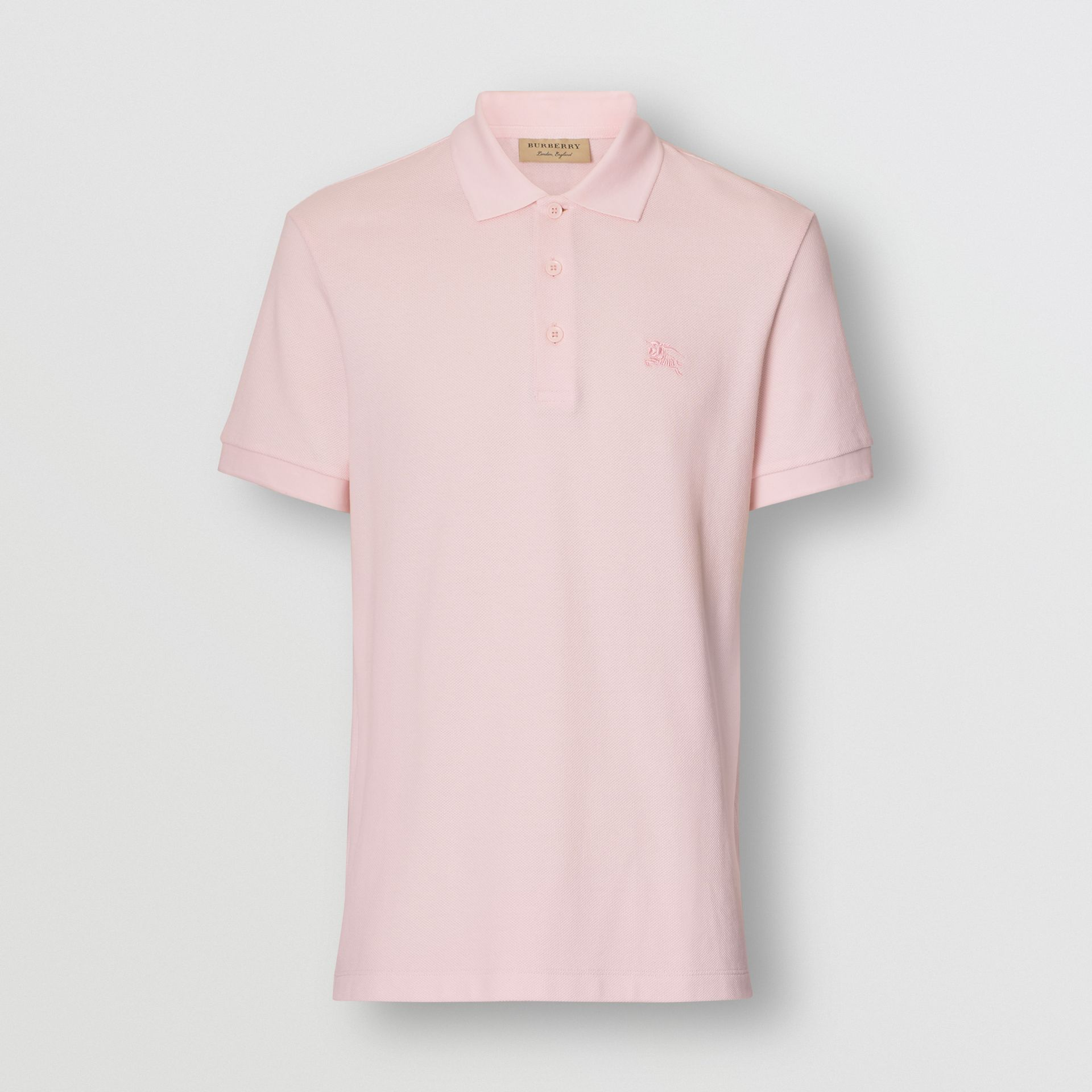 Check Placket Cotton Polo Shirt in Alabaster Pink - Men | Burberry - gallery image 3