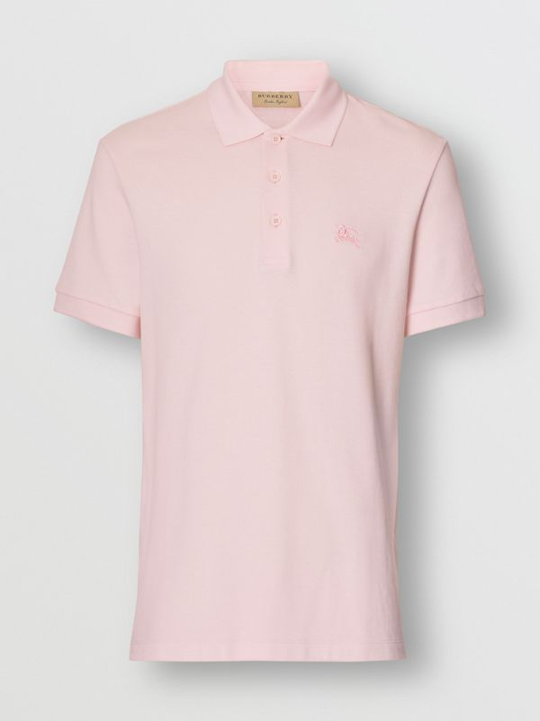 Check Placket Cotton Polo Shirt in Alabaster Pink - Men | Burberry - cell image 3