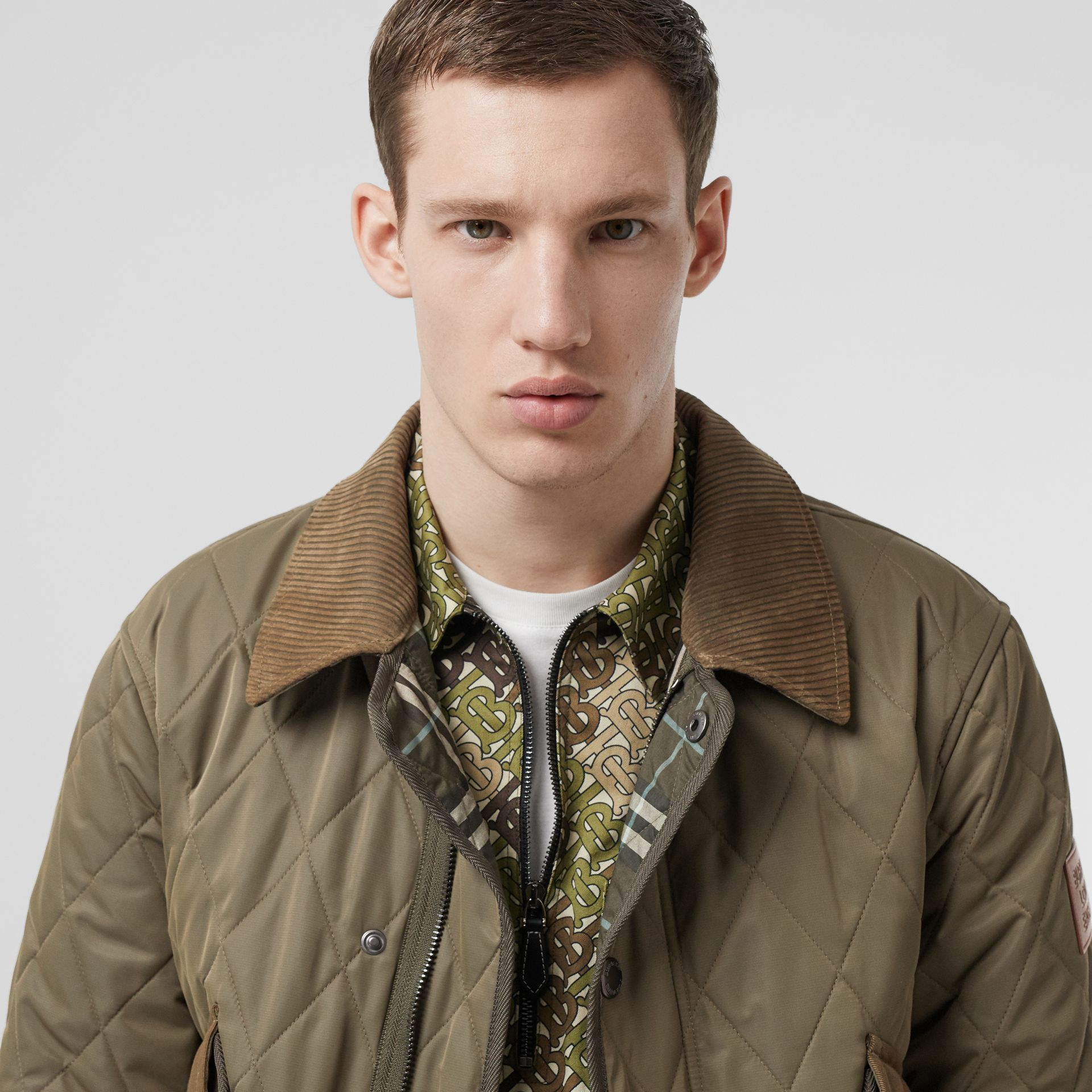 Diamond Quilted Thermoregulated Jacket in Dark Olive - Men | Burberry - gallery image 5