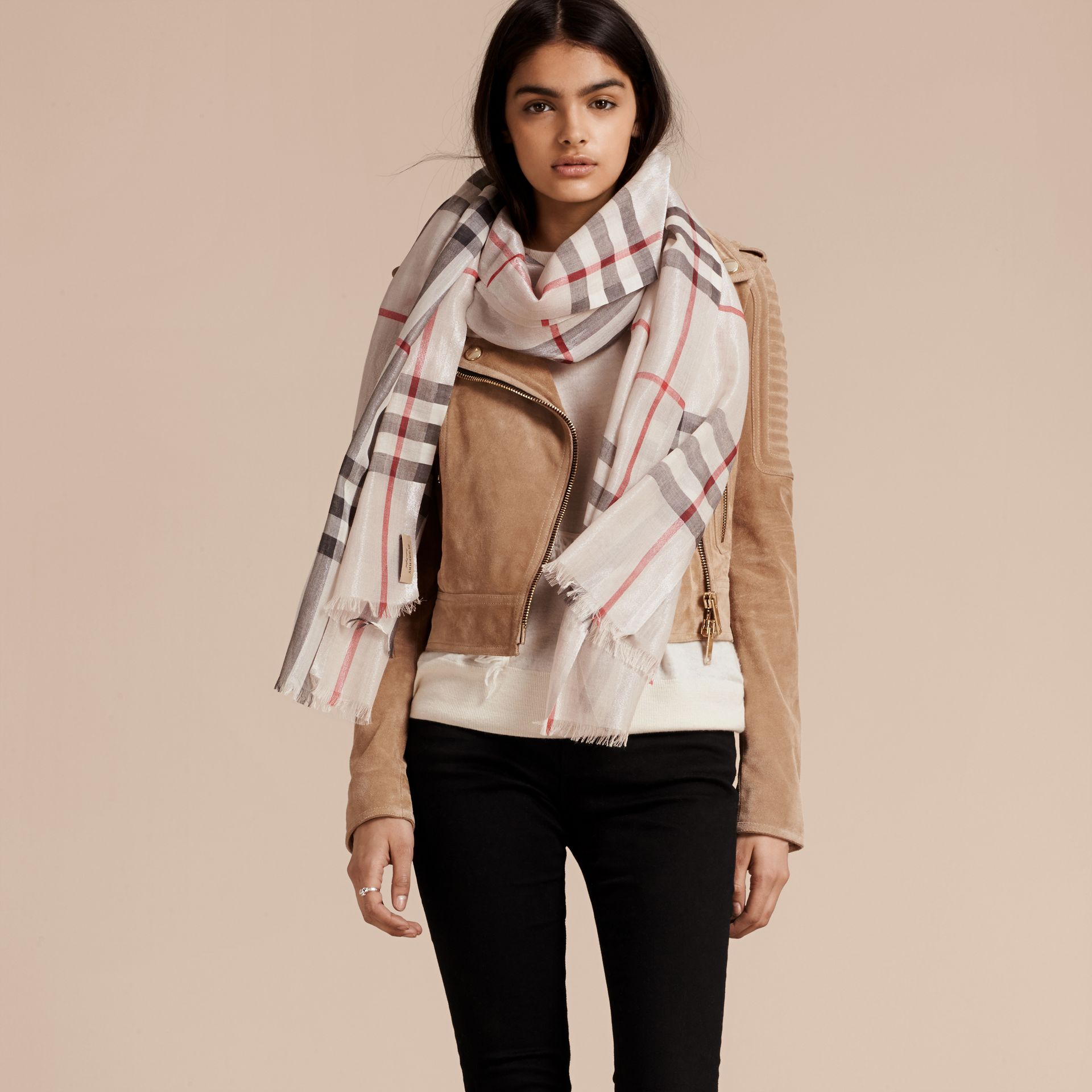 Metallic Check Silk and Wool Scarf in Stone/ Silver - Women | Burberry - gallery image 3