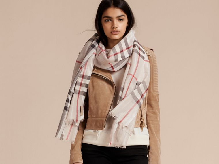 Metallic Check Silk and Wool Scarf in Stone/ Silver - Women | Burberry - cell image 2