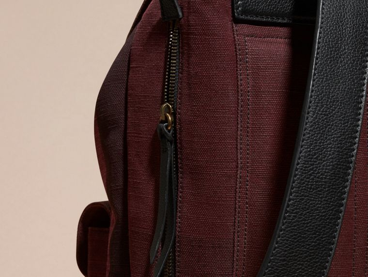 Claret Overdyed Canvas Check Backpack Claret - cell image 1