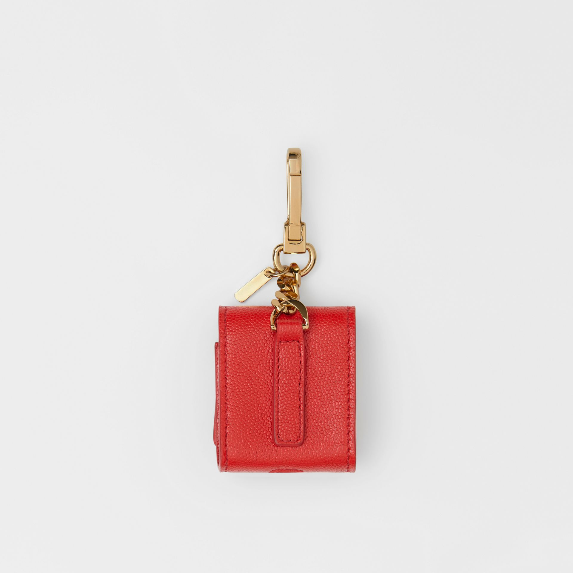 Grainy Leather AirPod Case in Bright Red | Burberry - gallery image 3