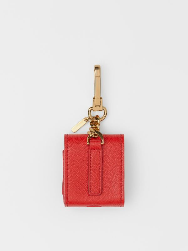 Grainy Leather Earphone Case in Bright Red | Burberry - cell image 3