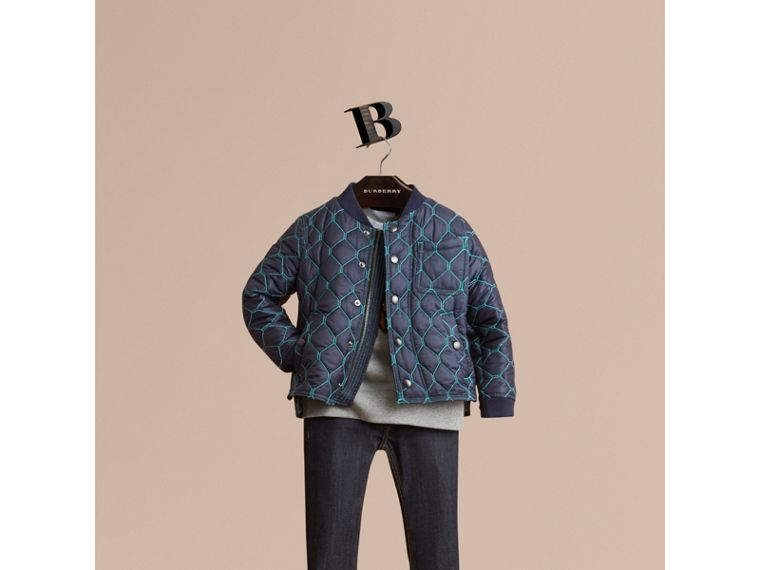 Contrast Topstitch Detail Quilted Jacket in Navy - Boy | Burberry Australia - cell image 1