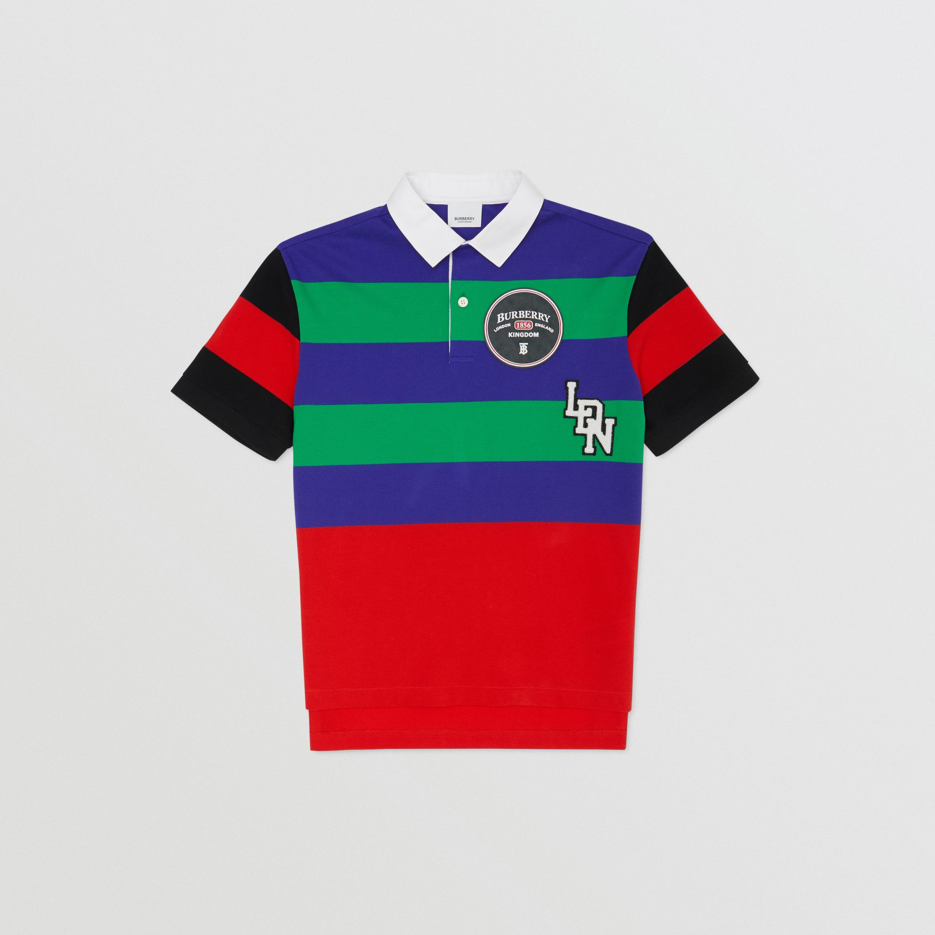 Logo Graphic Striped Cotton Piqué Polo Shirt in Multicolour | Burberry Canada - gallery image 0