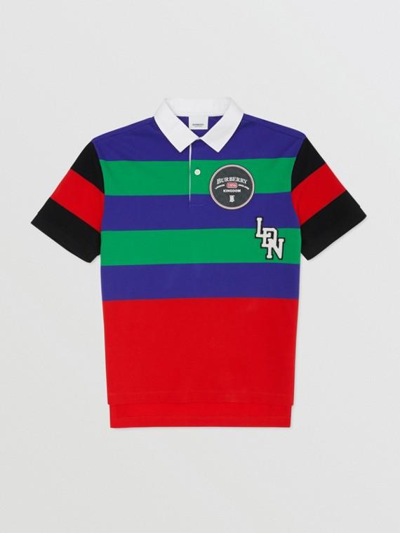 Camisa polo de algodão piquê com estampa listrada e logotipo gráfico (Multicolorido)