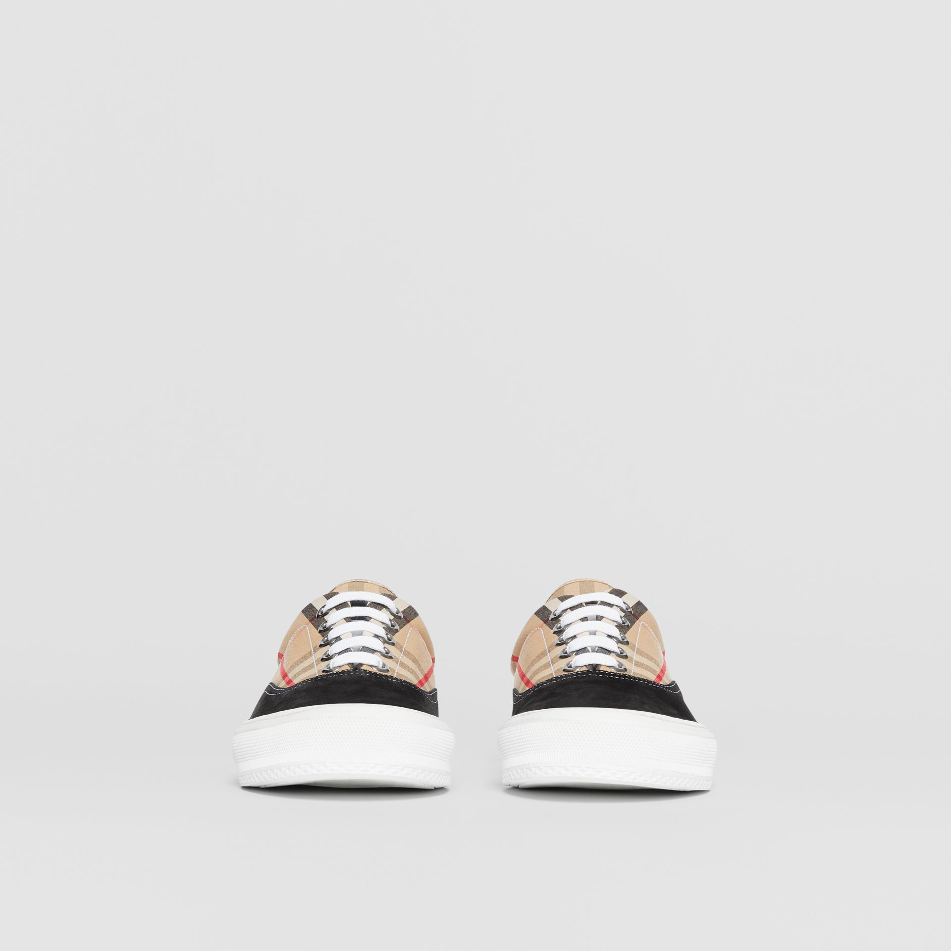 Vintage Check Cotton and Suede Sneakers in Black/archive Beige - Men | Burberry - gallery image 3