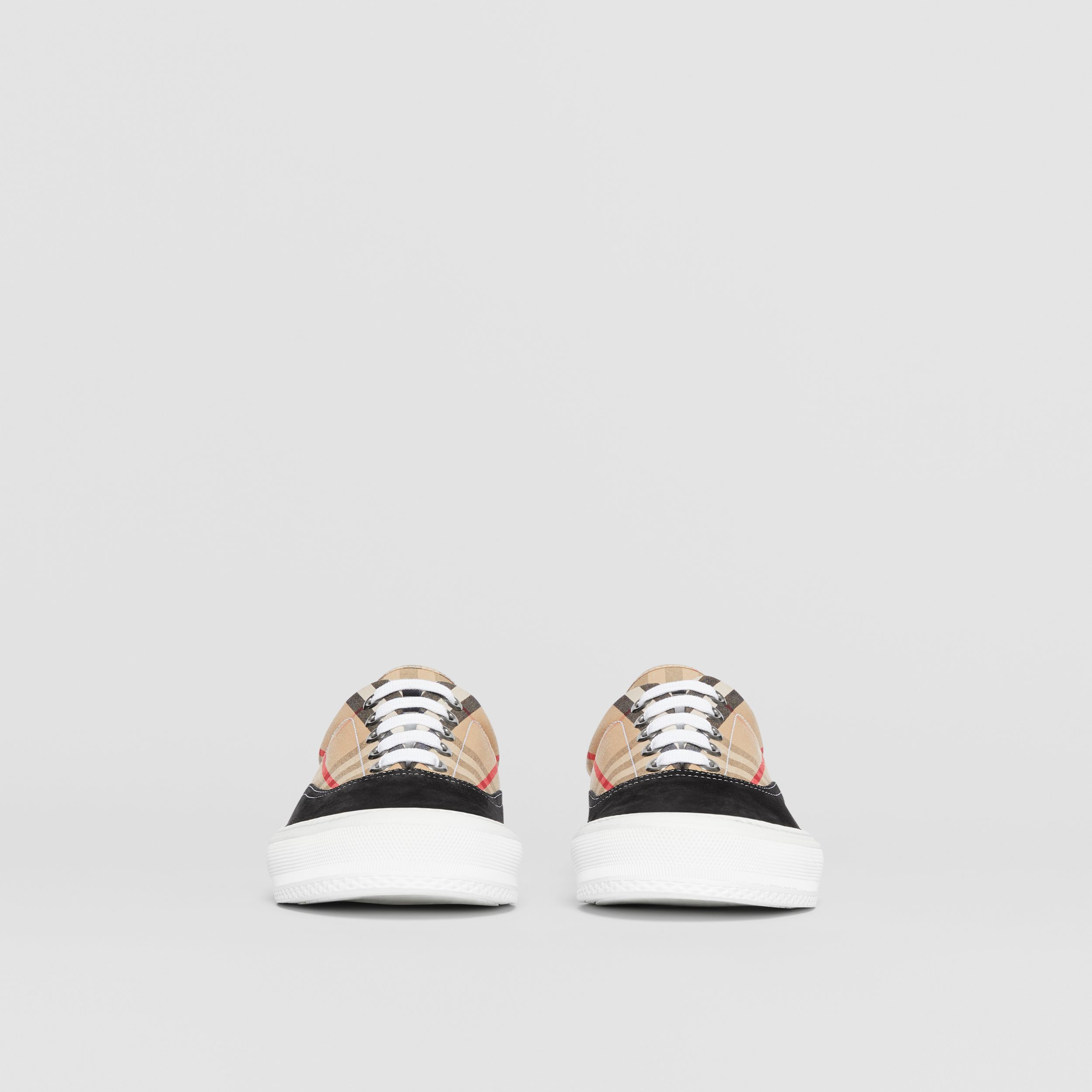 Vintage Check Cotton and Suede Sneakers in Black/archive Beige - Men | Burberry - 4
