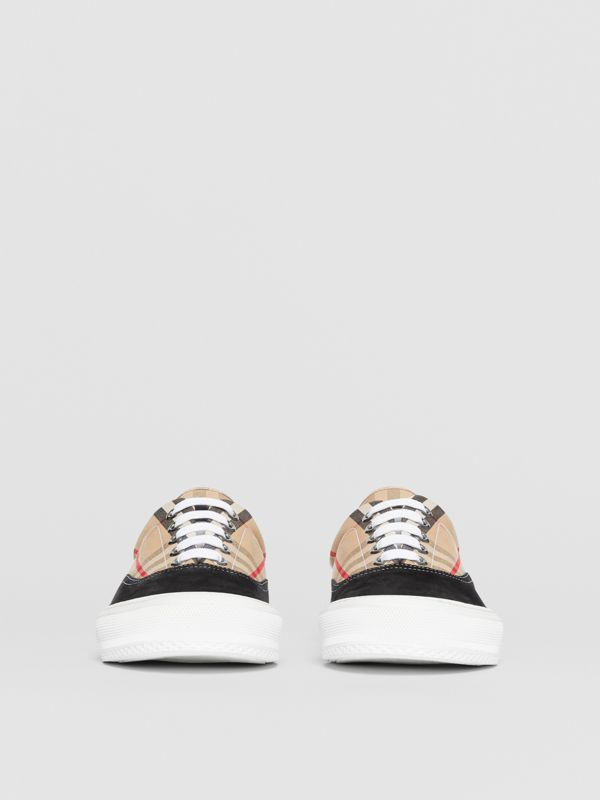 Vintage Check Cotton and Suede Sneakers in Black/archive Beige - Men | Burberry United States - cell image 3