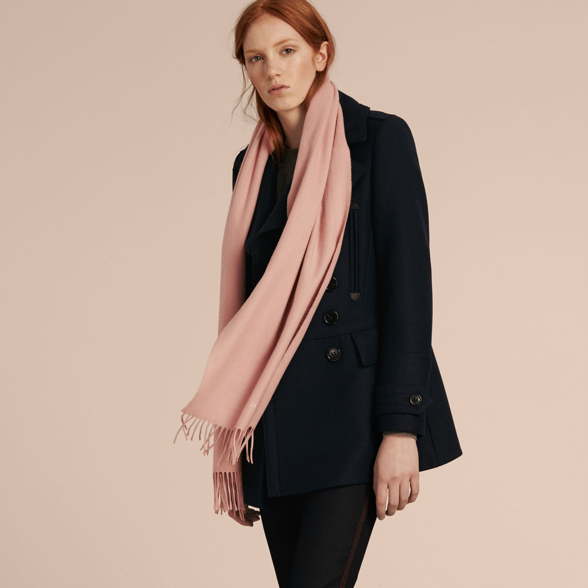 The Classic Cashmere Scarf in Ash Rose | Burberry Australia - gallery image 4