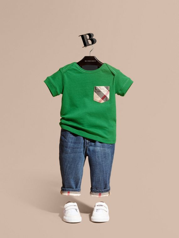 Check Pocket T-Shirt Bright Pigment Green