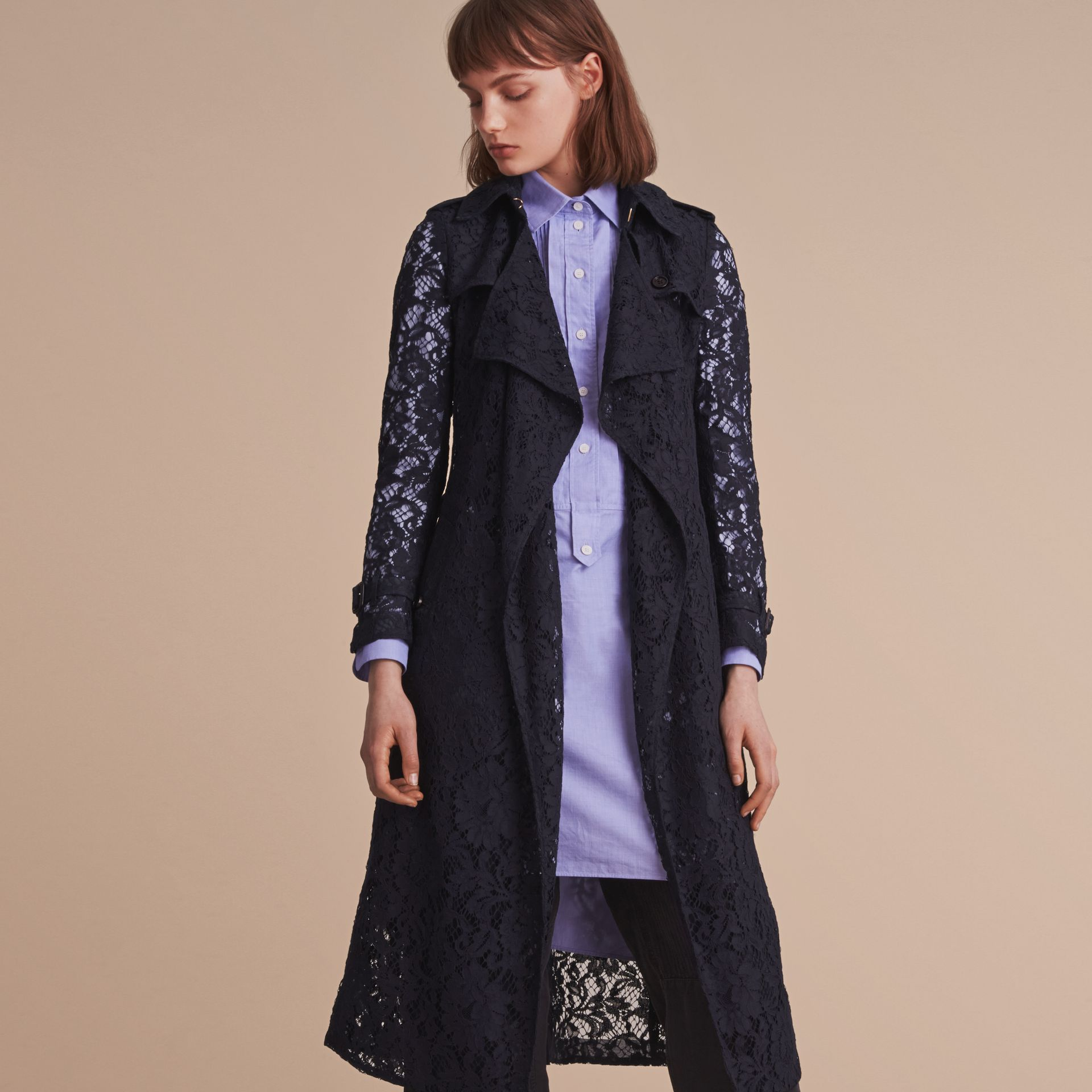 Macramé Lace Trench Coat in Navy - gallery image 7