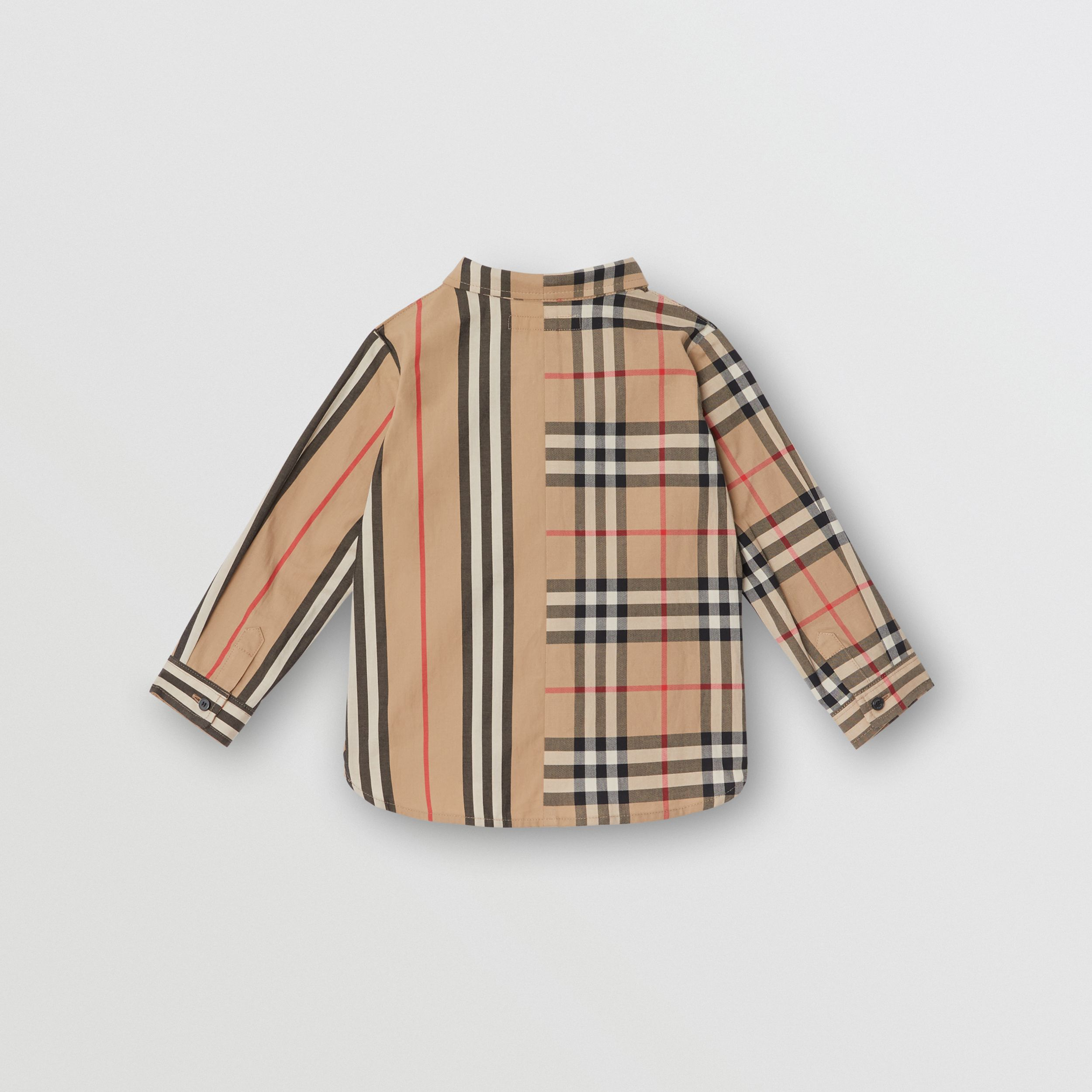 Panelled Vintage Check and Icon Stripe Cotton Shirt in Archive Beige - Children | Burberry United Kingdom - 4