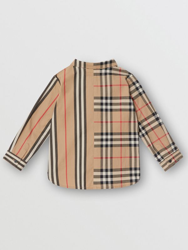 Panelled Vintage Check and Icon Stripe Cotton Shirt in Archive Beige - Children | Burberry - cell image 3