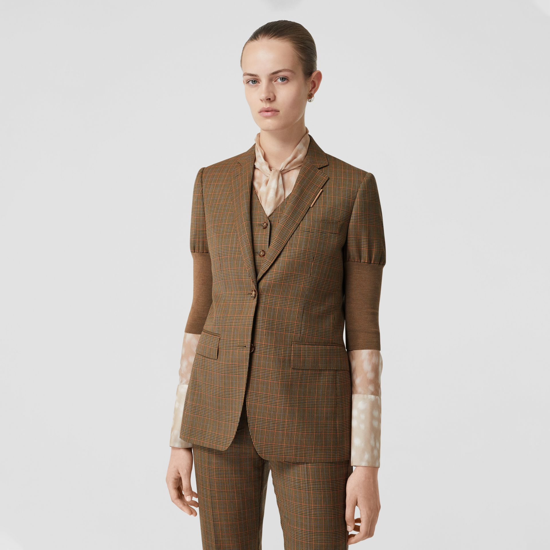 Knitted Sleeve Houndstooth Check Wool Tailored Jacket in Fawn - Women | Burberry Singapore - gallery image 5