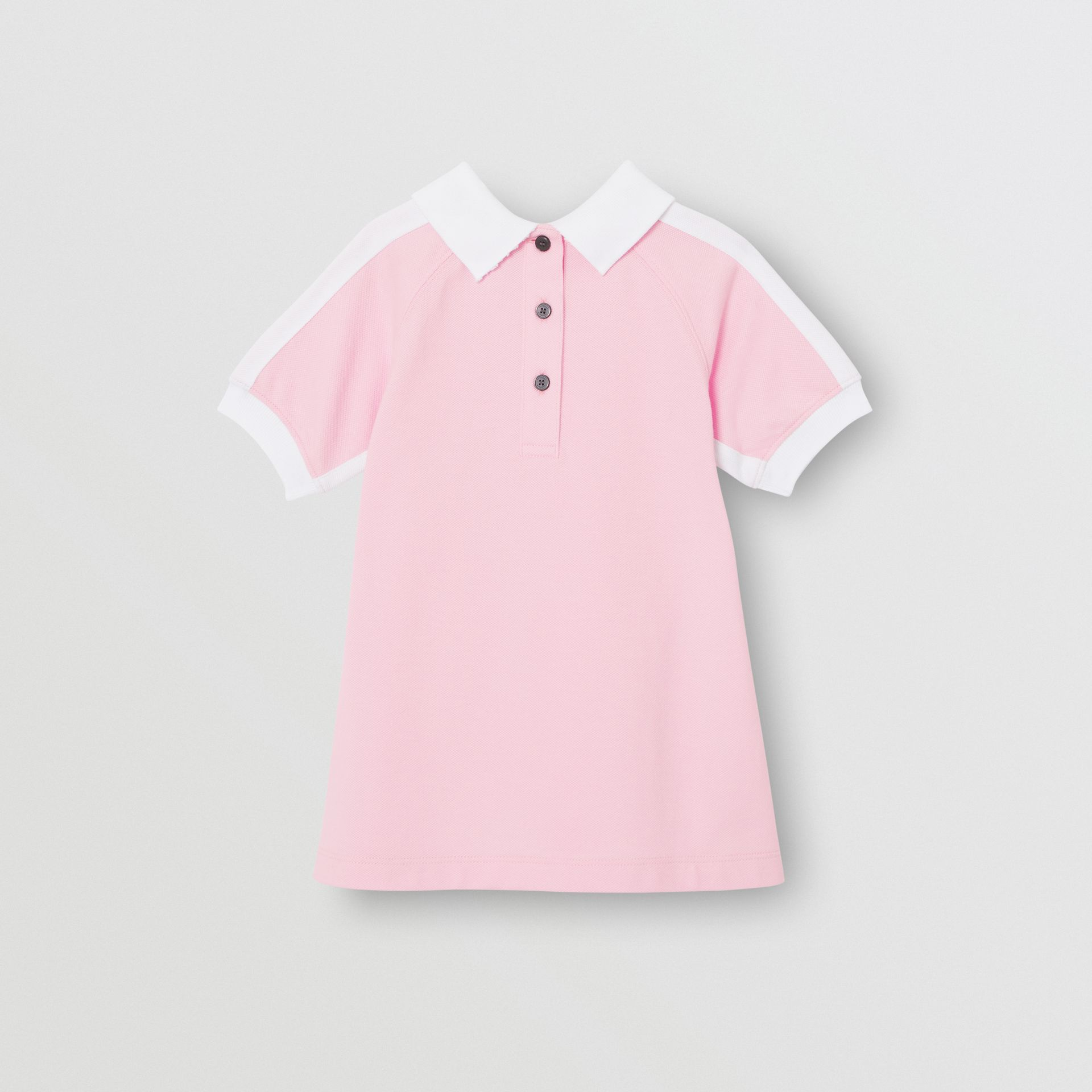 Embossed Logo Cotton Polo Dress in Pale Neon Pink - Children | Burberry - gallery image 3