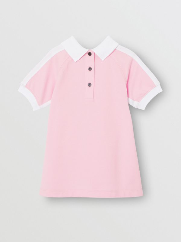 Embossed Logo Cotton Polo Dress in Pale Neon Pink - Children | Burberry - cell image 3