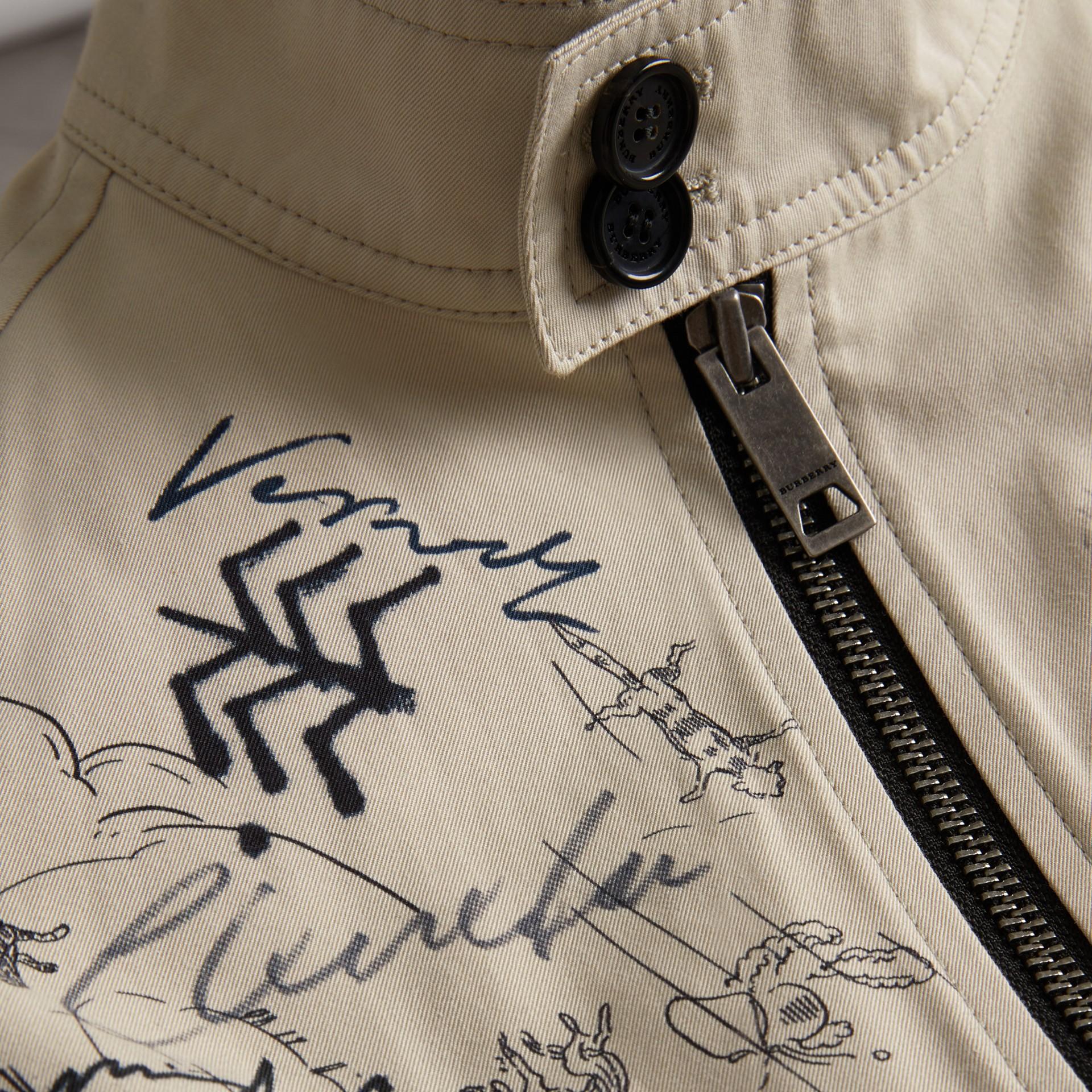 Adventure Print Gabardine Harrington Jacket in Stone | Burberry - gallery image 1