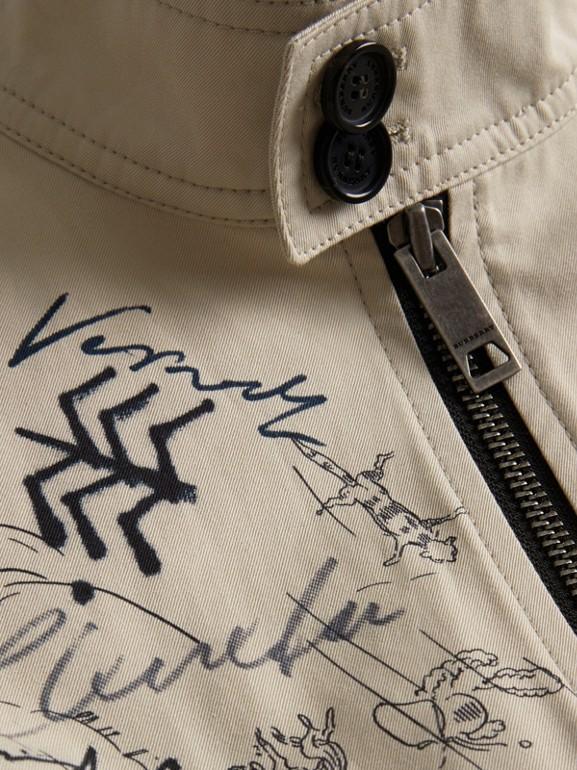 Adventure Print Gabardine Harrington Jacket in Stone | Burberry - cell image 1