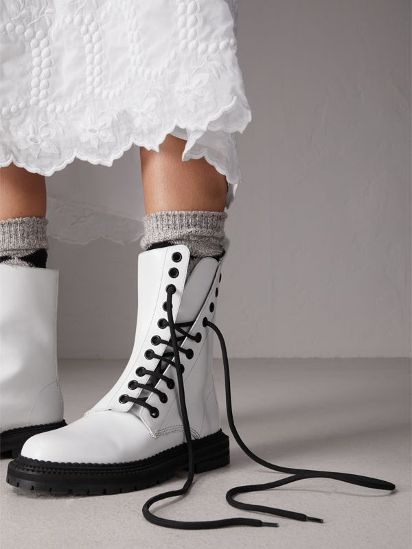 Leather Asymmetric Lace-up Boots in Optic White - Women | Burberry United Kingdom - cell image 2