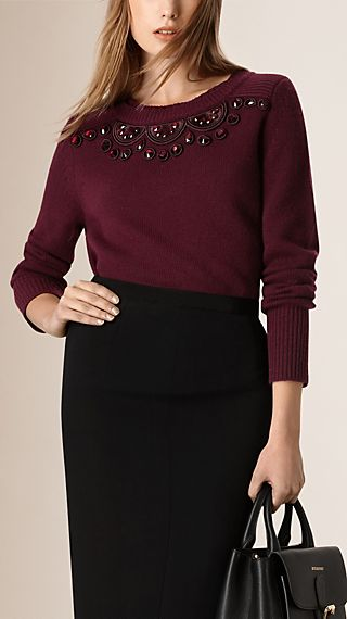 Bead Detail Wool Cashmere Sweater